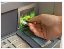 Inserting a card into an ATM