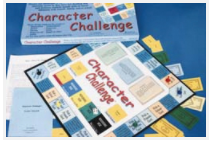 Contents of Character Challenge, educational boardgame