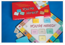 Contents of You're Hired!, educational board game